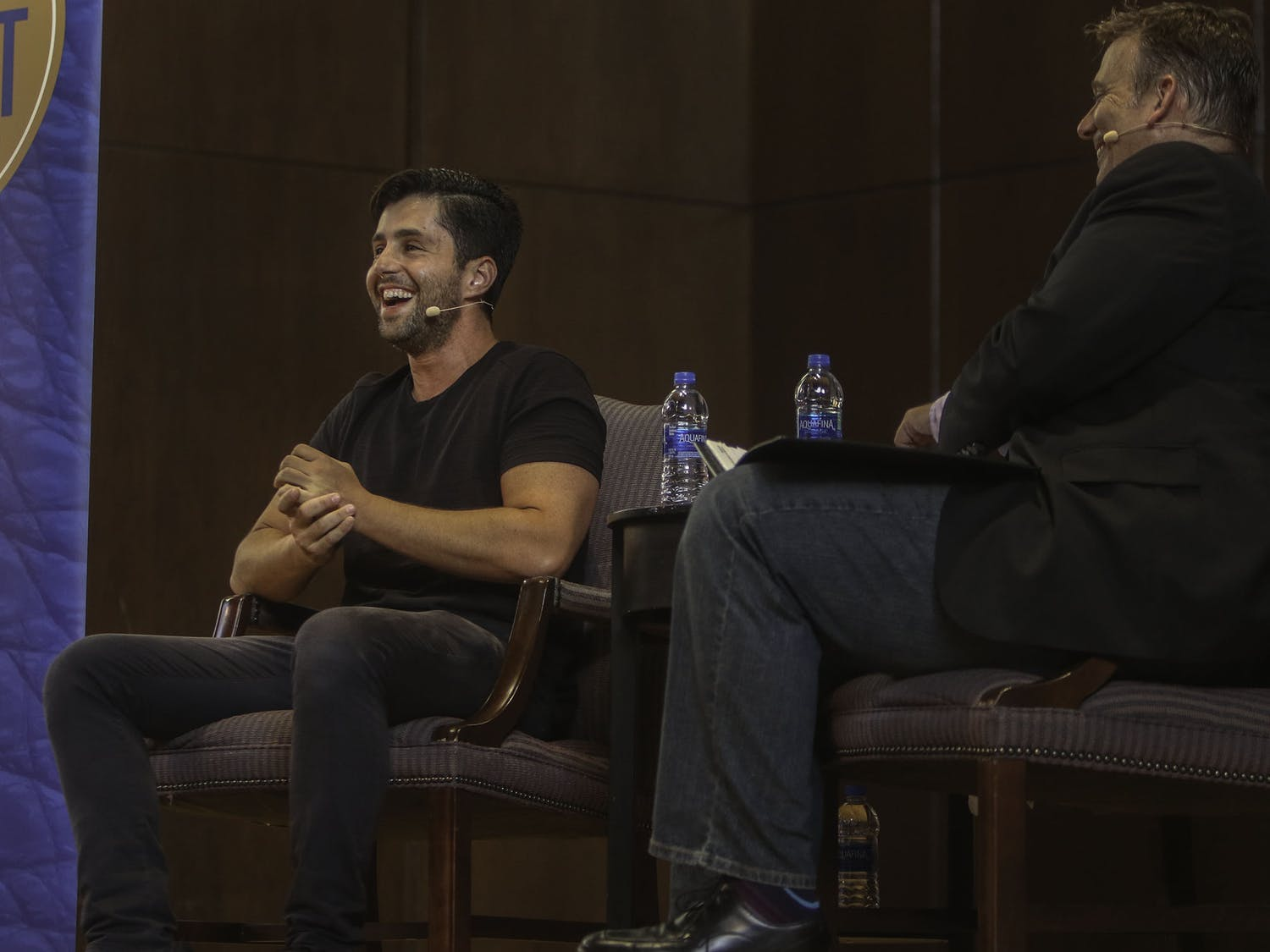 "Josh Peck, the 32-year-old social media influencer and actor known for his starring role in the Nickelodeon show ""Drake & Josh,"" speaks to Ted Spiker, the chair of the department of journalism, Wednesday evening at the University Auditorium at the University of Florida. Peck first told the sold-out crowd of over 800 people about being married and becoming a dad. ""I can't believe I found someone to procreate with,"" Peck joked."