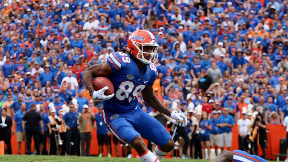 <p>UF wide receiver Tyrie Cleveland runs with the ball after a catch during Florida's 26-10 win against Tennessee on Saturday at Ben Hill Griffin Stadium.</p>