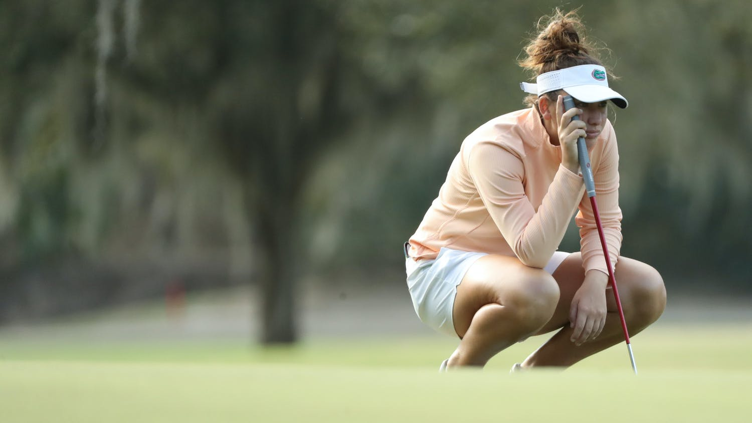Clara Manzalini at the Mark Bostick Golf Course in Gainesville, Florida, on Monday, February 22, 2021  / UAA Communications photo by Isabella Marley