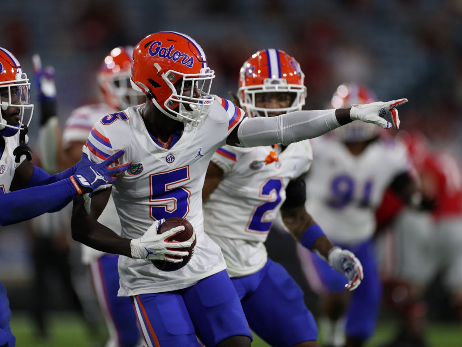 Defensive back Kaiir Elam (5) at the Gators game versus UGA Nov. 7.