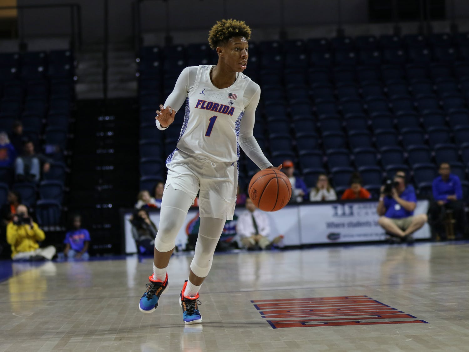 Guard Kiara Smith pitched in a double-double (16 points and 10 rebounds) in Florida's 83-73 home loss to Arkansas on Sunday. She also recorded a team-high five assists.