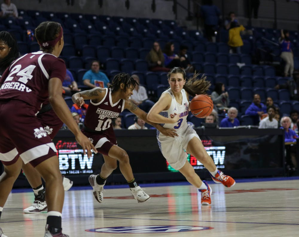 """<p dir=""""ltr""""><span>UF guard Funda Nakkasoglu scored 14 points in Florida's 90-42 loss to Mississippi State on Thursday night. She was the only Gator to score in the first quarter.</span></p><p><span></span></p>"""
