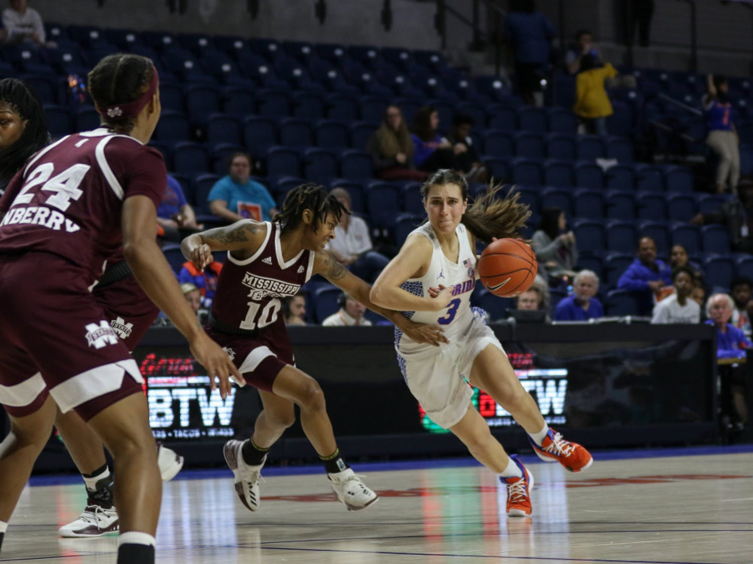 UF guard Funda Nakkasoglu scored 14 points in Florida's 90-42 loss to Mississippi State on Thursday night. She was the only Gator to score in the first quarter.