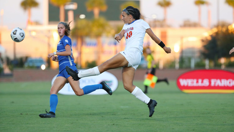Florida forward Olivia Gonzalez kicks the ball in a game against Kentucky on Thursday.