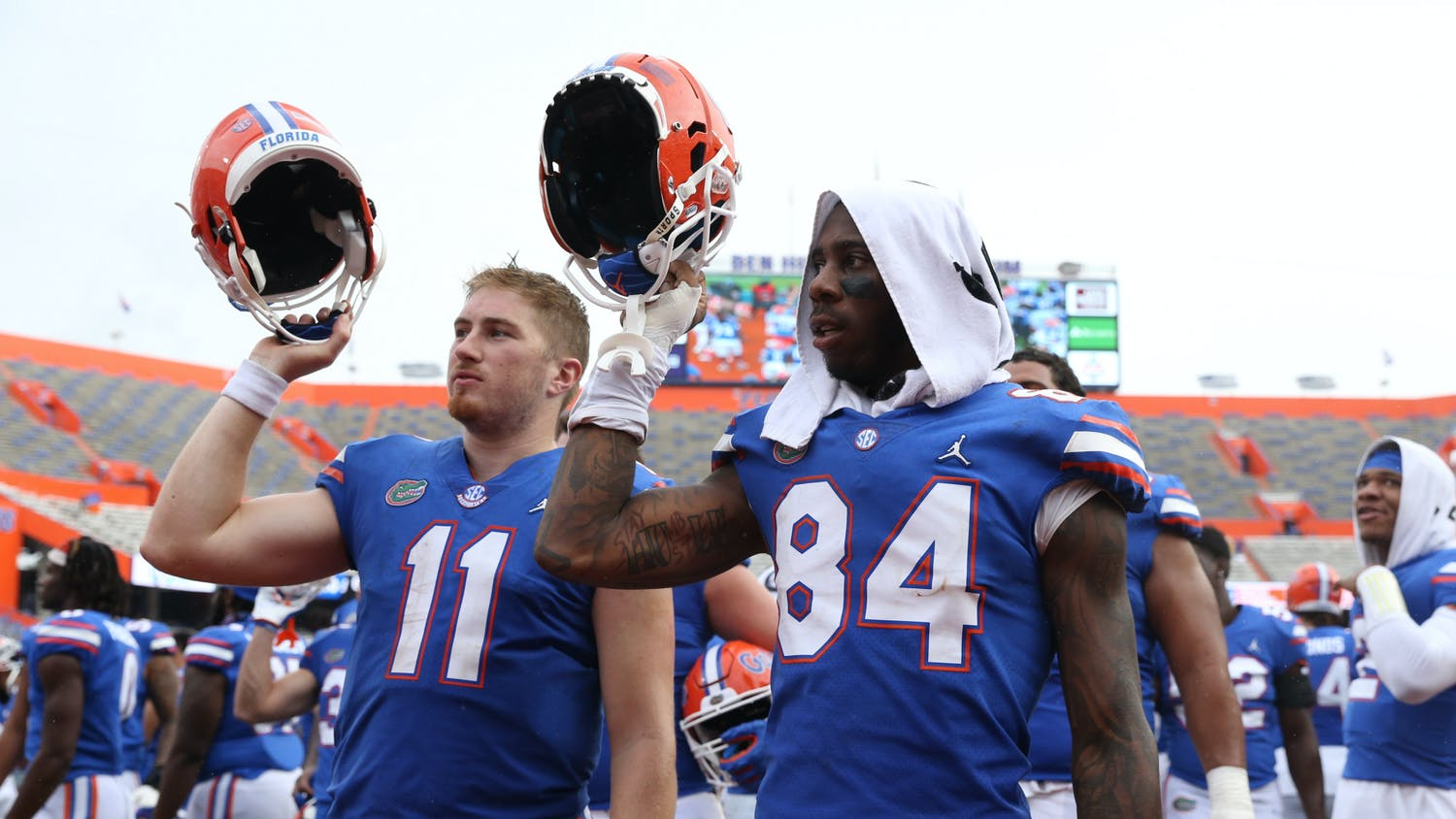Gators tight end Kyle Pitts (84) and quarterback Kyle Trask (11) are regarded as two of the best college football players in the country this season.