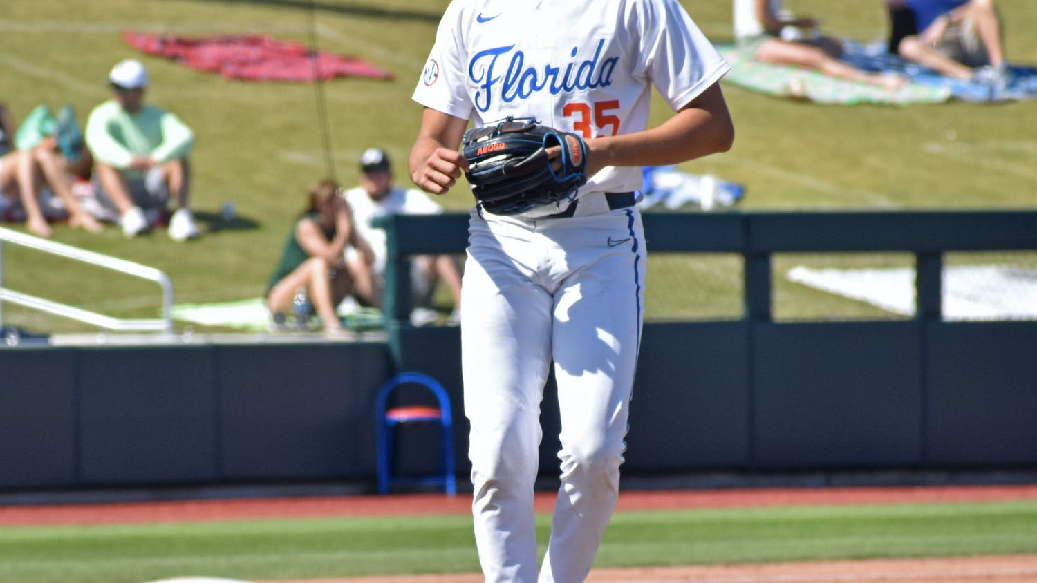 Florida pitcher Franco Aleman on the mound against Jacksonville March 14. Aleman struck out a career-high eight batters Saturday but Florida was swept by No. 1 Arkansas.