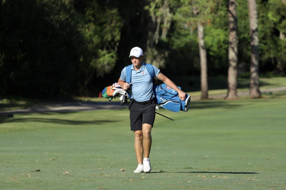 <p>Freshman Joe Pagdin walks through practice at Mark Bostick Golf Course. Pagdin is currently tied for 73rd at the NCAA Championships in Scottsdale, Arizona.</p>