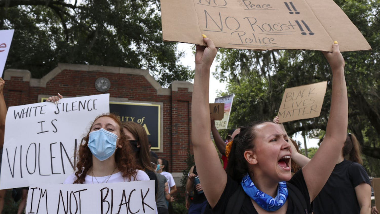 Alexzandria Rogers, a 22-year-old UCF political science major and Gainesville resident, shouts as protestors demand justice for George Floyd, an unarmed black man who was killed in Minneapolis police custody on May 25, 2020.