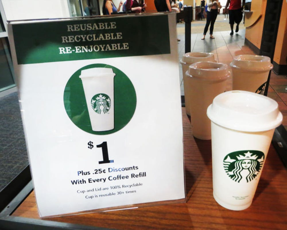 <p>Starbucks is now offering new reusable, plastic cups for $1. Consumers save 25 cents when they bring the reusable cup.</p>