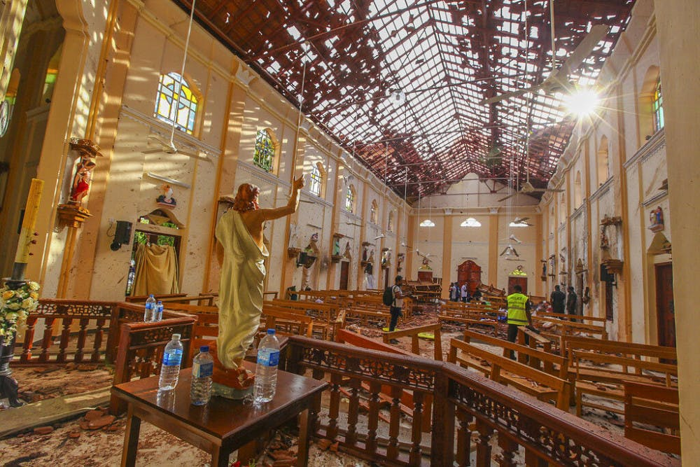 <p>A view of St. Sebastian's Church damaged in blast in Negombo, north of Colombo, Sri Lanka, Sunday, April 21, 2019. More than hundred were killed and hundreds more hospitalized with injuries from eight blasts that rocked churches and hotels in and just outside of Sri Lanka's capital on Easter Sunday, officials said, the worst violence to hit the South Asian country since its civil war ended a decade ago. (AP Photo/Chamila Karunarathne)</p>