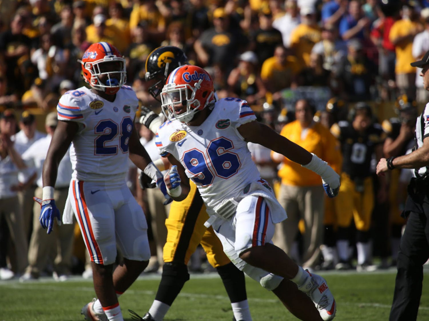 CeCe Jefferson celebrates a play during Florida's 30-3 win against Iowa at the Outback Bowl on Jan. 2, 2017, at Raymond James Stadium.