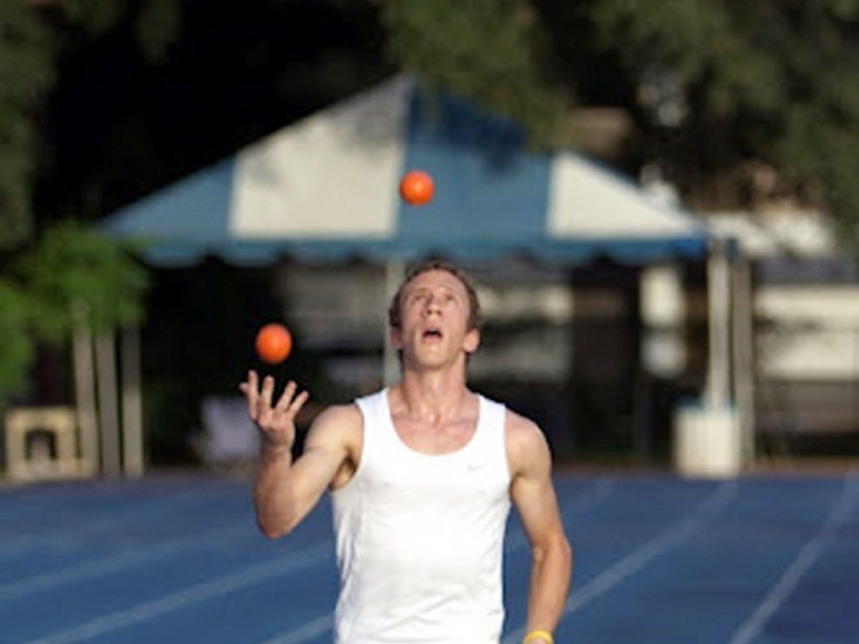 UF junior Matthew Feldman broke the Guinness World Record for five-ball joggling at Rice University Friday.