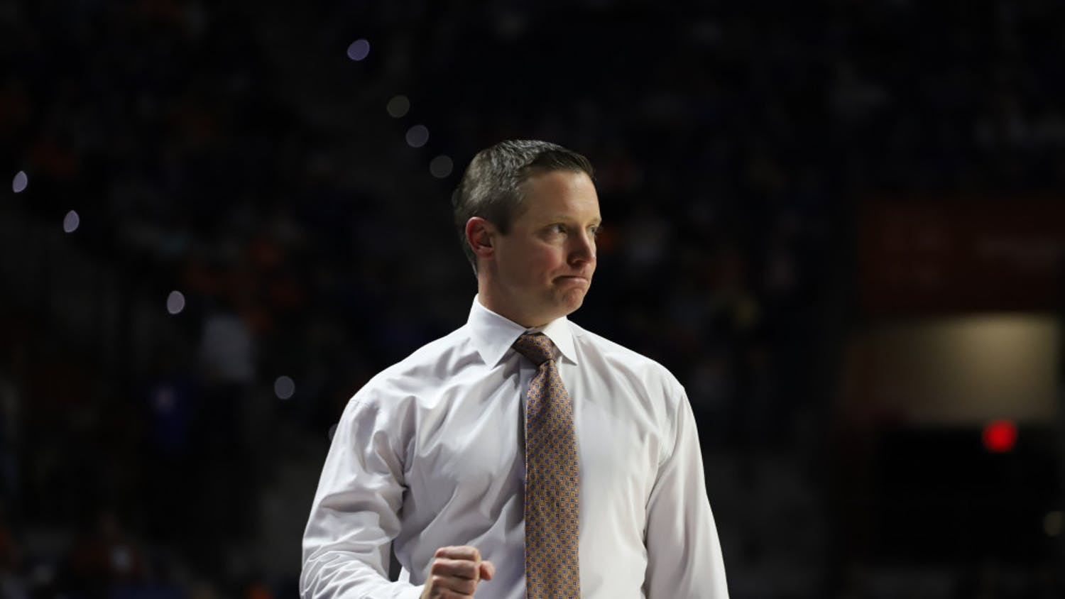 Head coach Mike White court side at the UF-Marshal game last season. He will prepare his team for its first game in nearly two weeks against No. 24 Arkansas