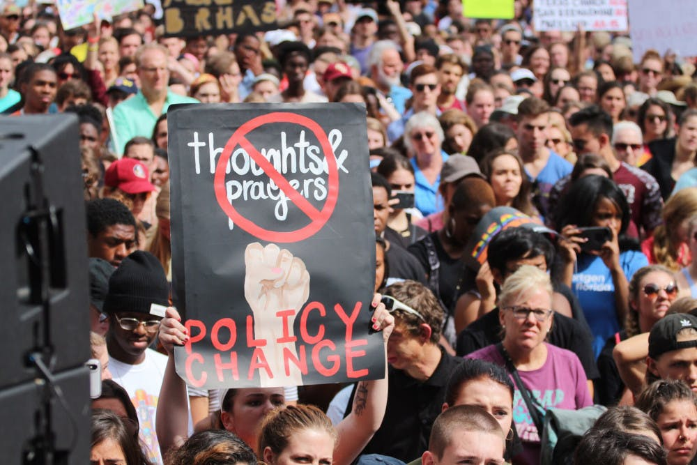 <p>Students from Marjory Stoneman Douglas High School in Parkland, Florida, and supporters march in Tallahassee for gun control after 17 were shot and killed at the school Feb. 14.</p>