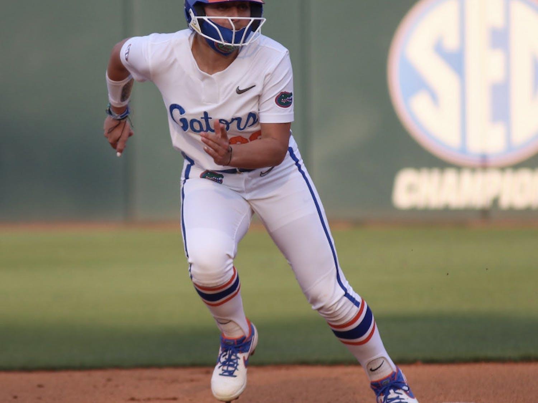 Outfielder Mia Buffano darts towards third base against Florida State Mar. 3