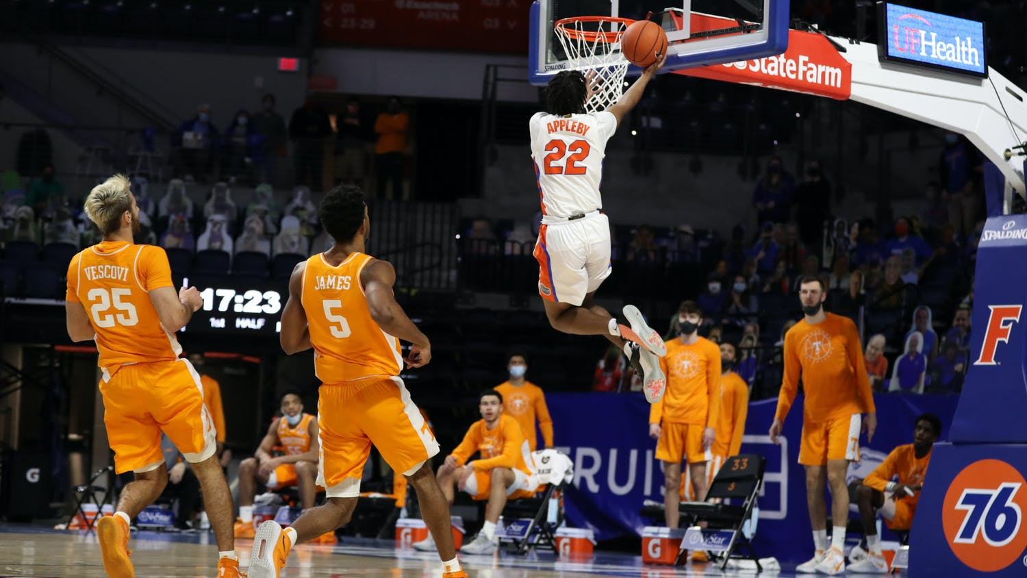 What made such seasoned depth en route to a 26-point upset victory was possible because of Florida's recruiting and hidden gems from the transfer portal. Photo courtesy of the SEC Media Portal.