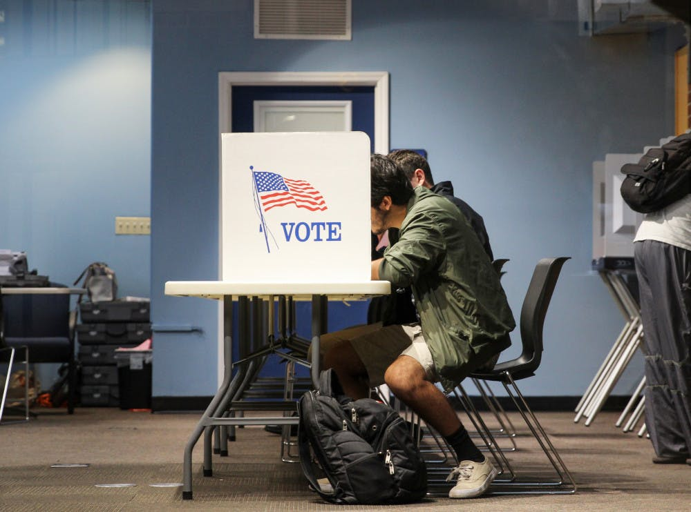 <p><span>Nestor Garcia, a 21-year-old</span> <span>industrial engineer major,</span> <span>attends the early voting session on Oct. 22, 2018, at the J. Wayne Reitz Union to vote for the first time.</span></p>