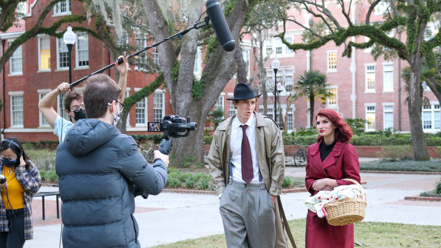 """Filming of """"Foundations of Crime Solving"""" on UF's campus February 20. (Photo by Emilee Ford)"""