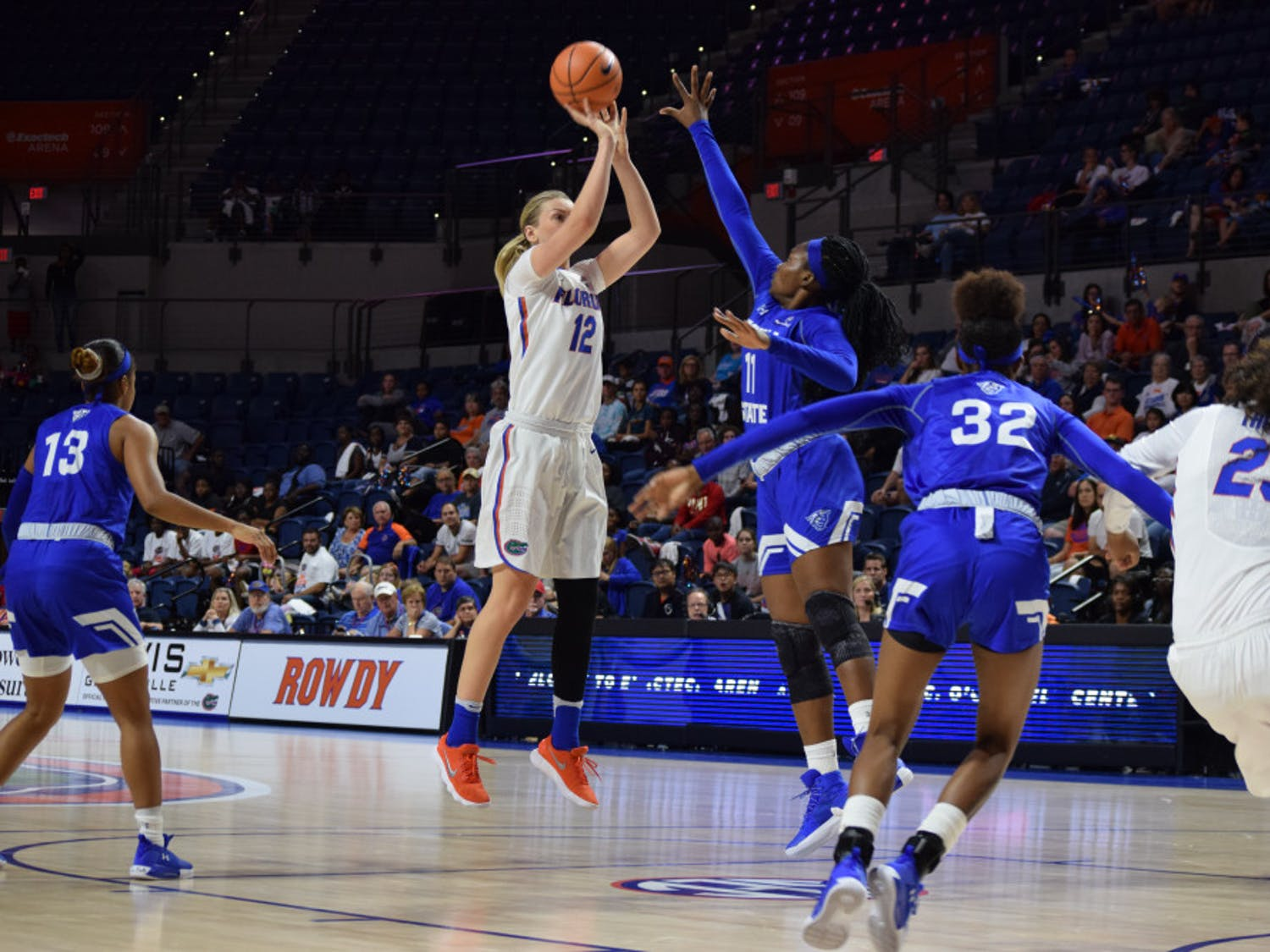 UF guard Paulina Hersler converted 3-of-5 attempts from beyond the arc in Florida's 82-66 against Georgia State on Saturday.