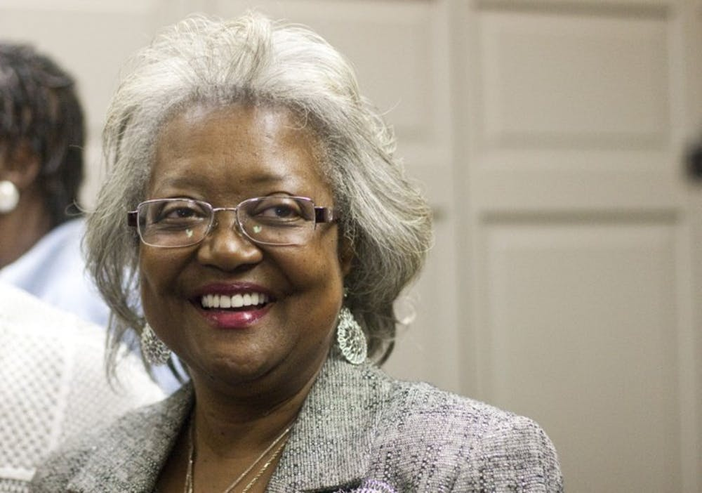 <p>District 1 winner Yvonne Hinson-Rawls celebrates at the Supervisor of Elections Office downtown after election results came in Tuesday night.</p>