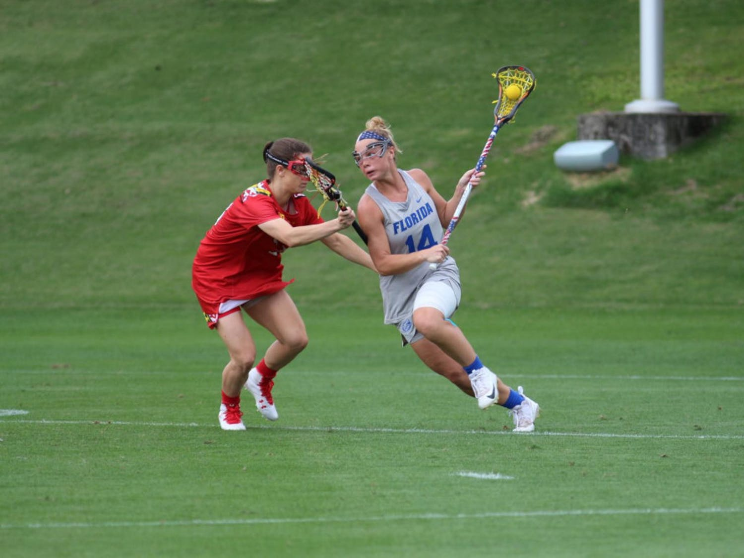 Senior attacker Lindsey Ronbeck recorded three goals, one assist and six draw controls in Florida's 16-9 victory over the Johns Hopkins Blue Jays on Friday.