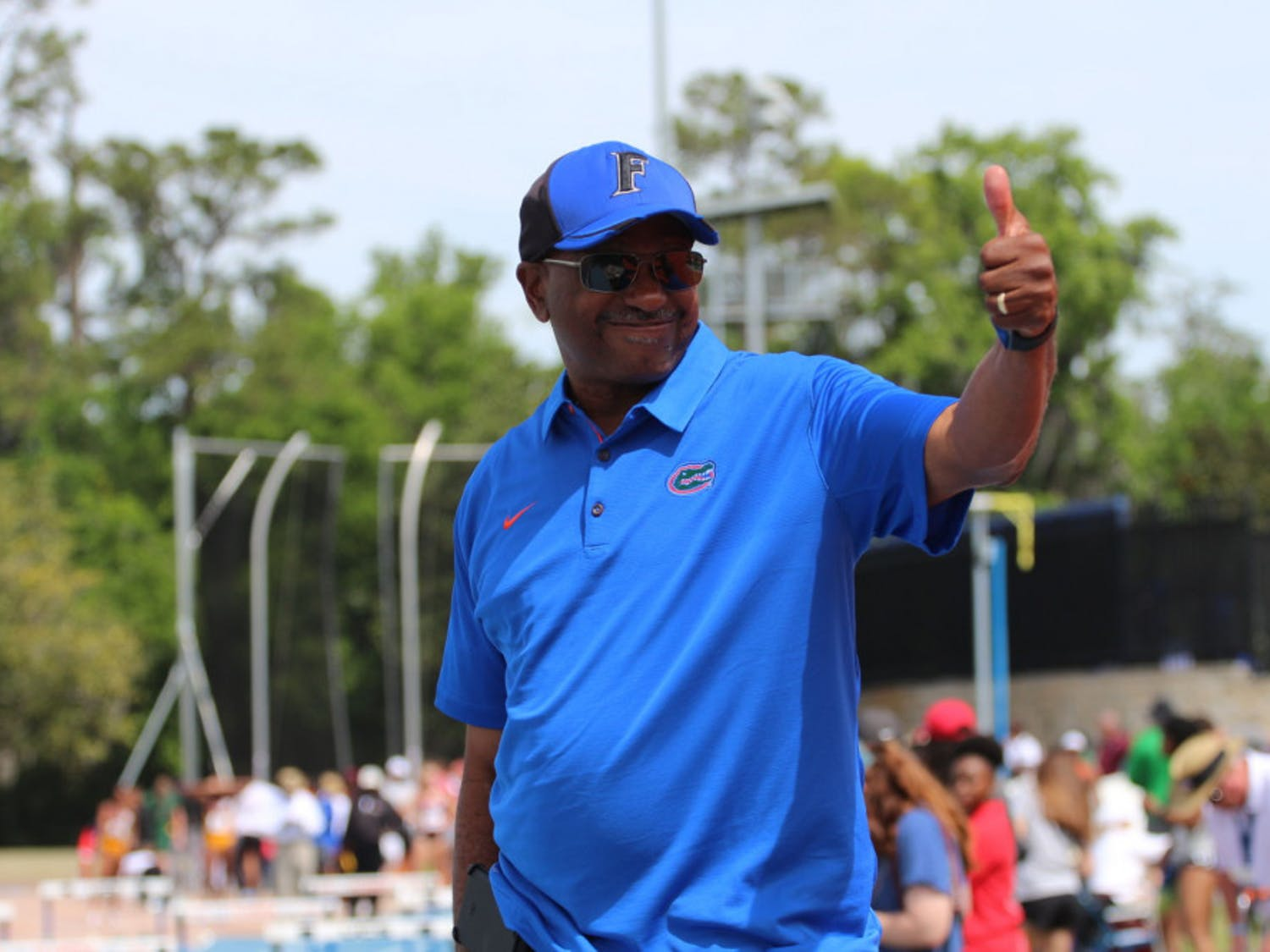 UF track and field coach Mike Holloway. The Gators had 10 athletes bring home hardware from the SEC Outdoor Championships.