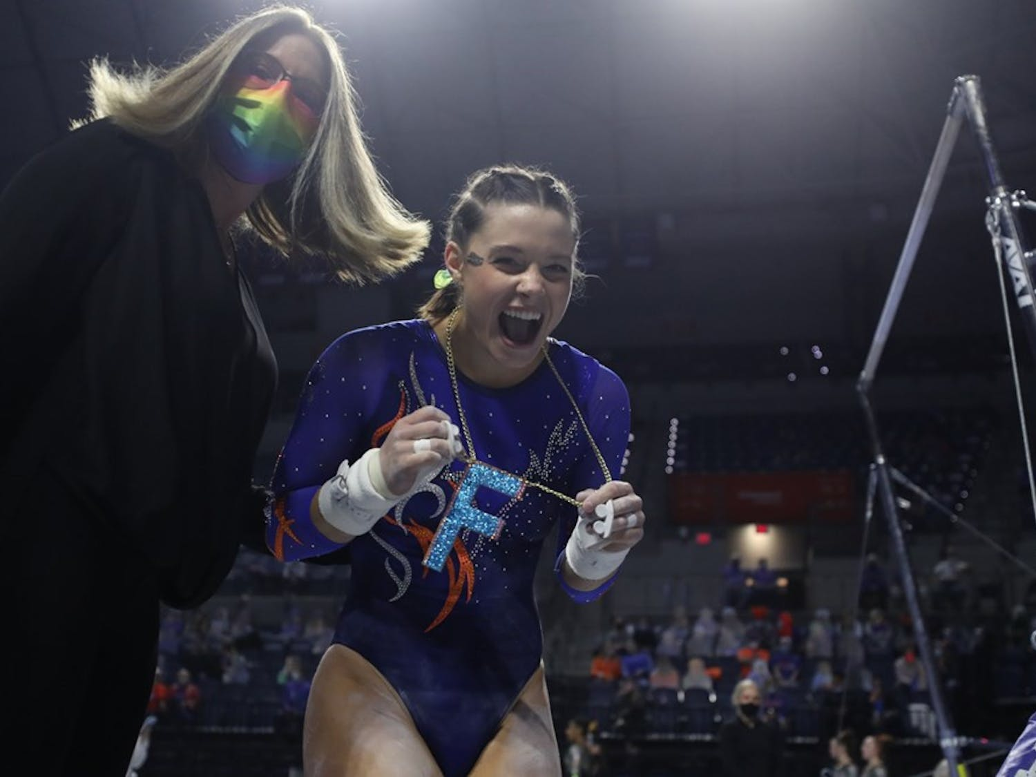 Senior Megan Skaggs was the first Florida gymnast to sport the shiny pendant after she posted a career-high 9.95 on the uneven bars. Photo courtesy of Tiffany Franco.