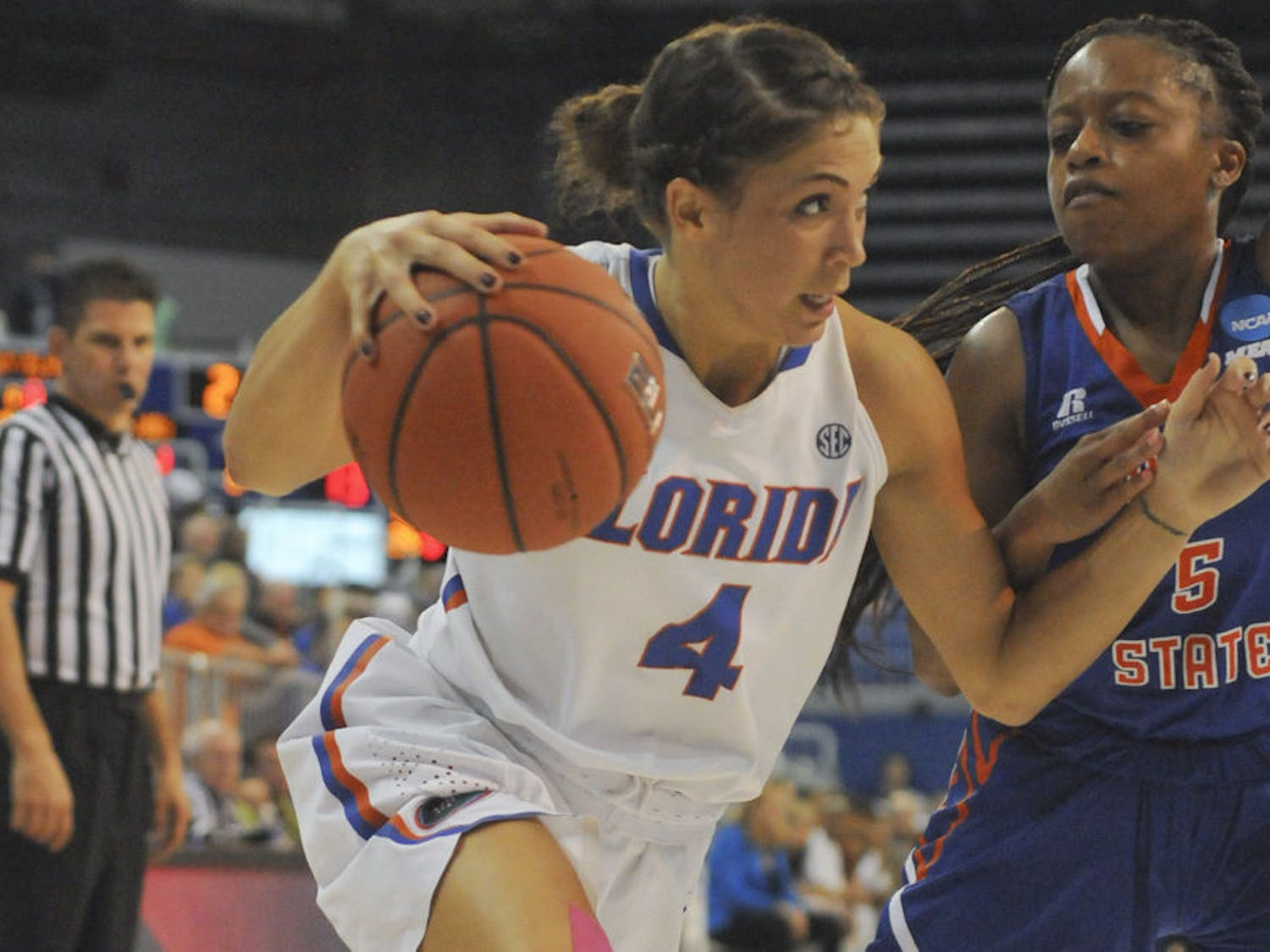 UF point guard Carlie Needles drives to the basket during Florida's 99-34 win over Savannah State on Nov. 24, 2015, in the O'Connell Center.