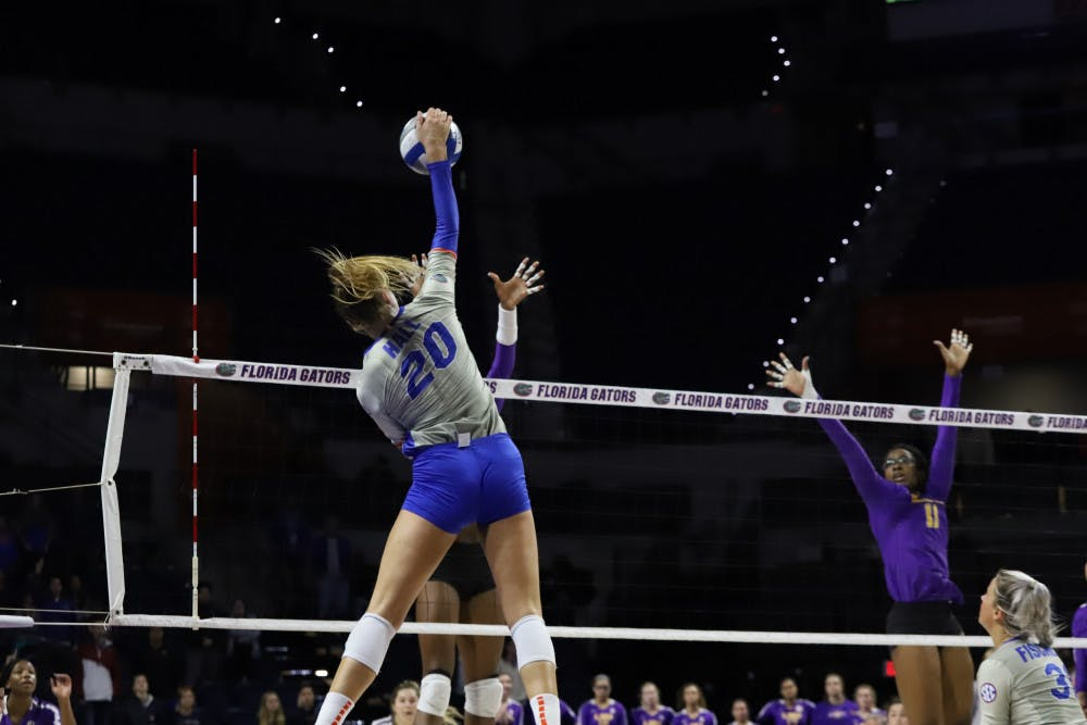 <p>Thayer Hall spikes the ball in the Gators game versus LSU last season. She and T'ara Ceasar led Florida in kills Saturday afternoon in their win over Alabama.</p>