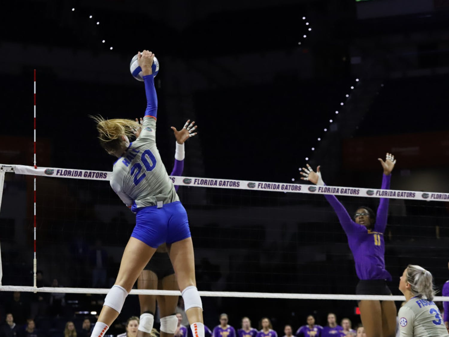 Thayer Hall spikes the ball in the Gators game versus LSU last season. She and T'ara Ceasar led Florida in kills Saturday afternoon in their win over Alabama.