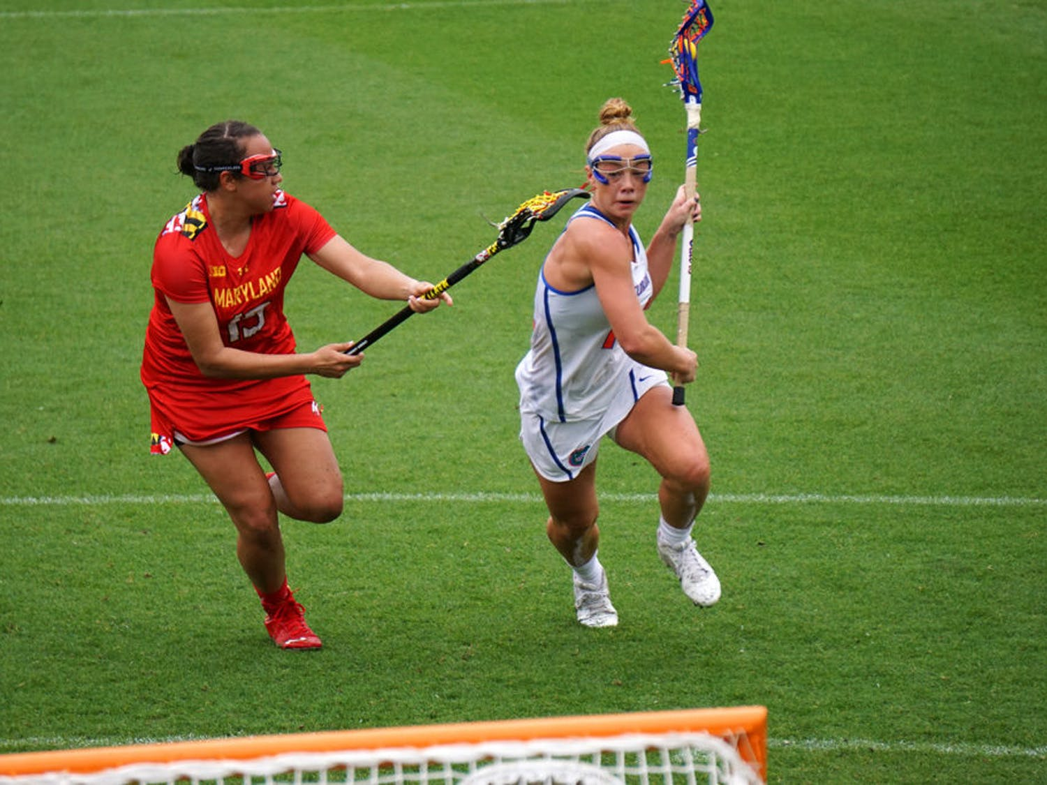 Lindsey Ronbeck runs toward the goal during Florida's 14-4 loss to Maryland on March 19, 2016, at Donald R. Dizney Stadium.