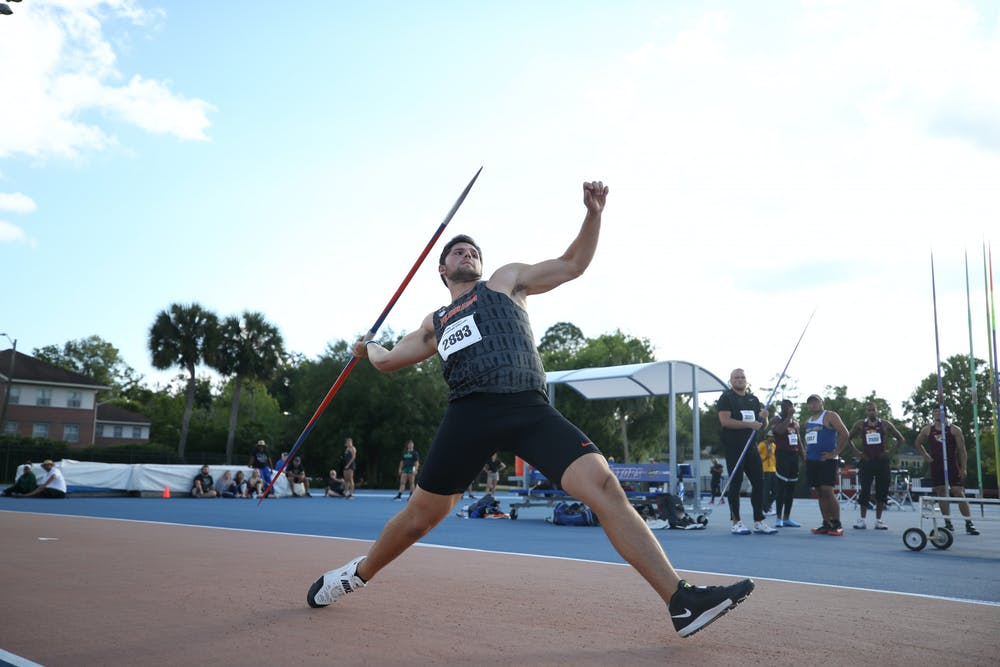 <p>Jacob Stanko throws a javelin at the Tom Jones Memorial Classic in 2019. </p>