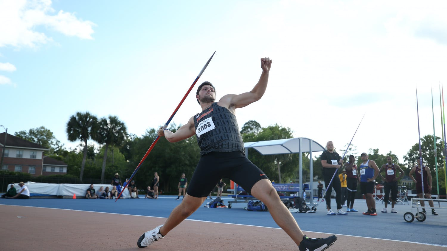 Jacob Stanko throws a javelin at the Tom Jones Memorial Classic in 2019.