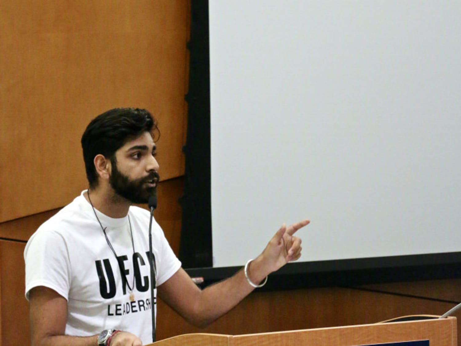 Amol Jethwani, a 21-year-old UF political science junior, addresses the UF Student Government Senate in the Senate Chambers inside the Reitz Union. He's now running to represent the 21st District, which includes Alachua County.