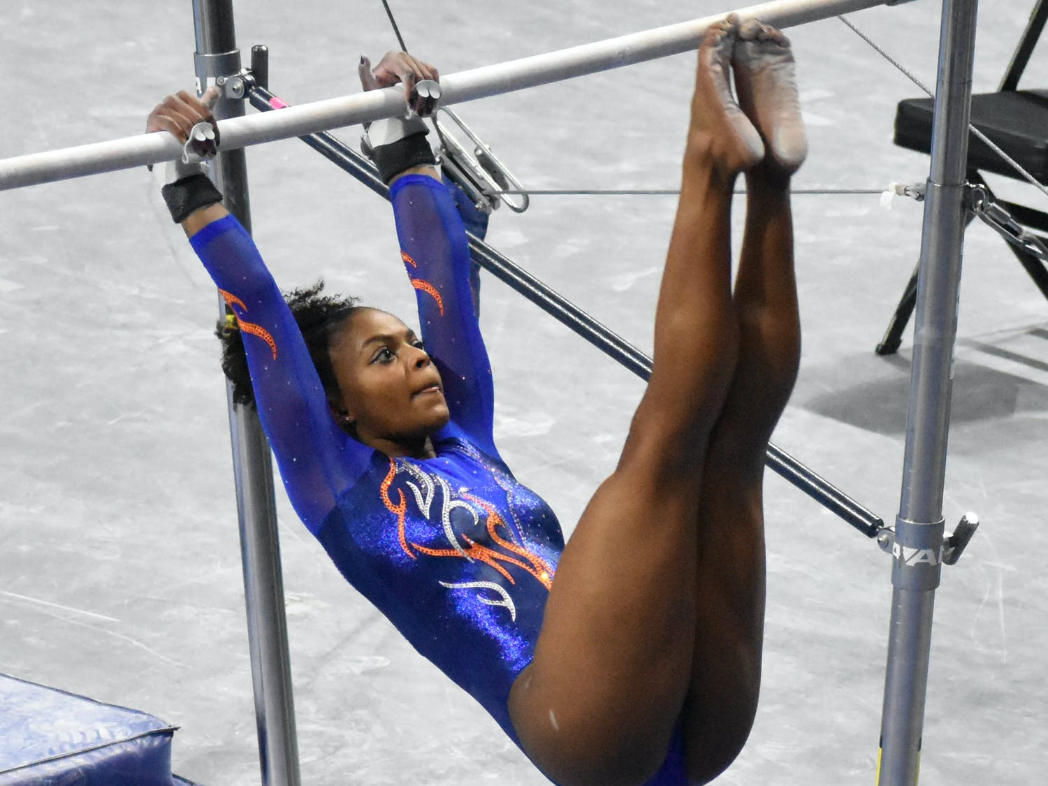 Trinity Thomas only performed on bars at the SEC Championships. Photo from UF-Mizzou meet Jan. 29.