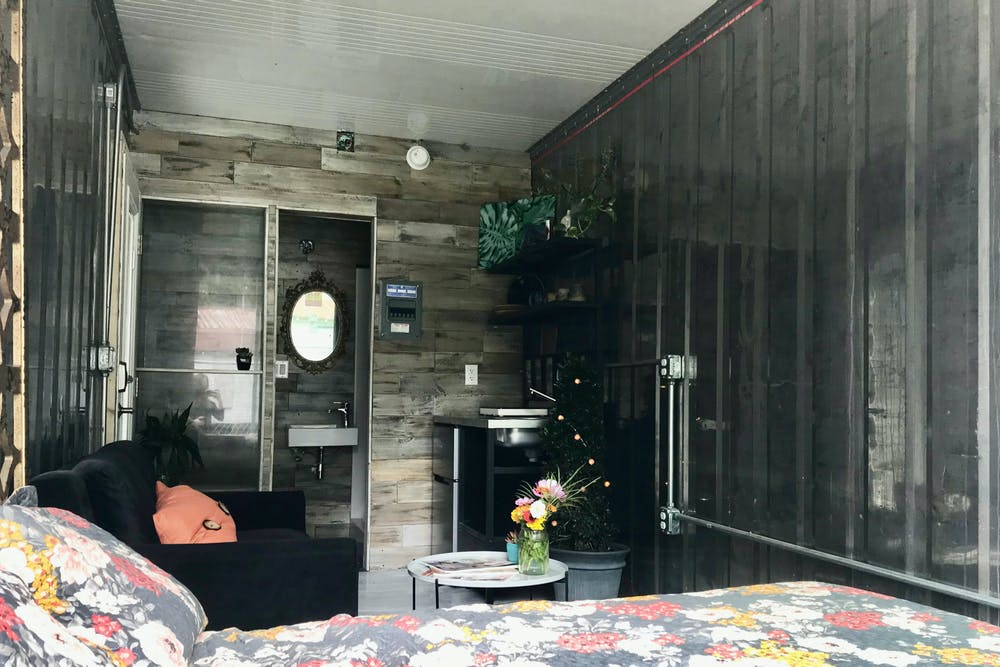 The inside of a tiny home in a storage container converted by Troy Rosslow, founder of Tiny House Lab LLC on Monday, June 7, 2021.