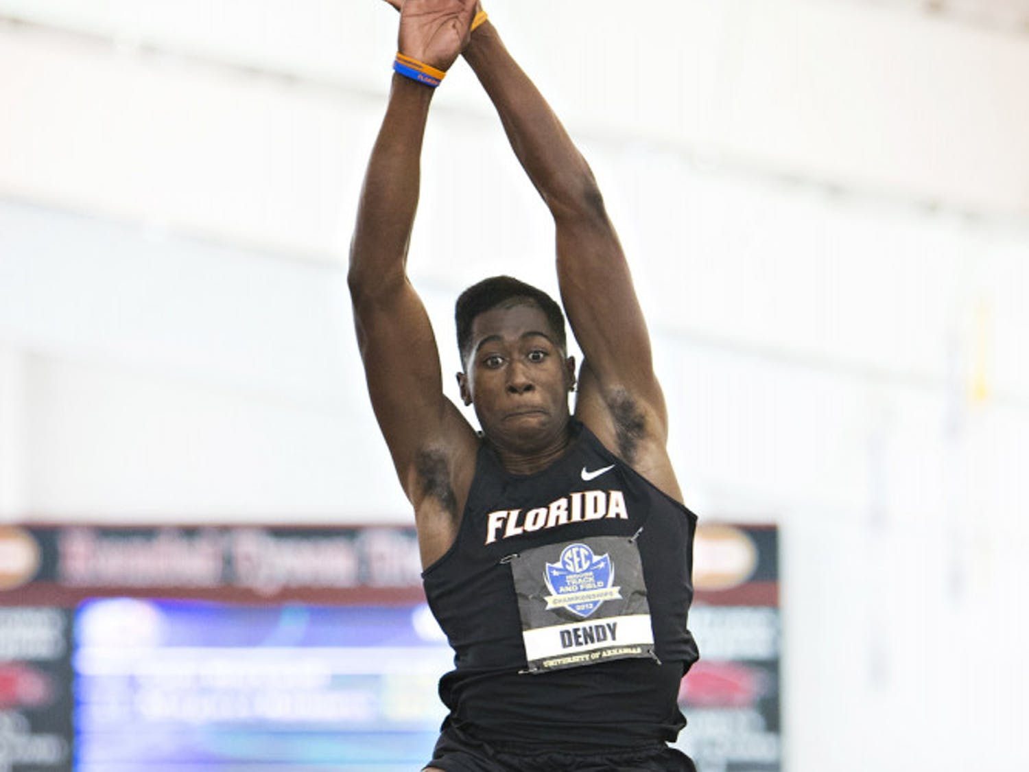 Sophomore jumper Marquis Dendy competes in the long jump at the SEC Indoor Track Championships on Feb. 23 in Fayetteville, Ark. Dendy qualified for the men's triple jump in next week's NCAA Outdoors Championships.