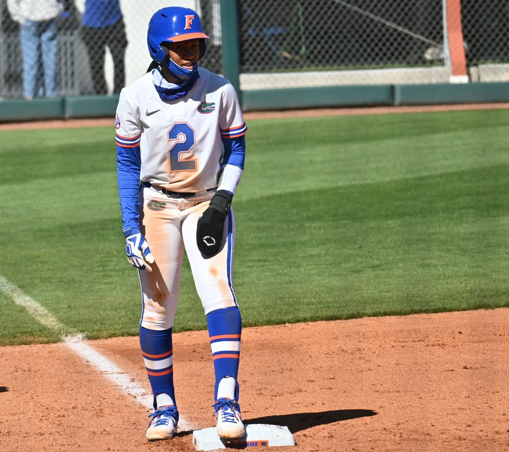 Florida center fielder Cheyenne Lindsey smacked a single down the first base line to drive in two runs Saturday. Photo from UF-Charleston game Feb. 20.