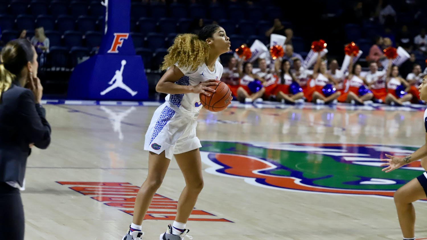 Gator guard Lavender Briggs facing Longwood University in November 2019.