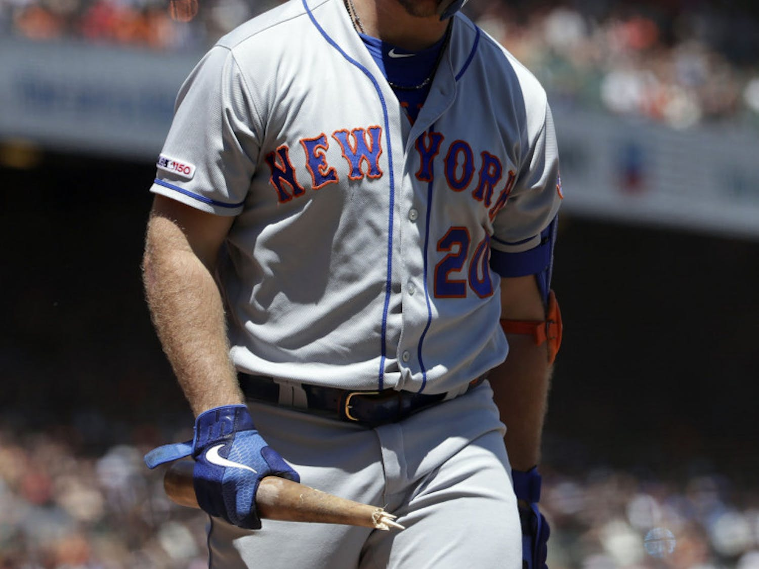 Pete Alonso, one of the few bright spots of this Mets season, looks down in frustration after striking out earlier this month.