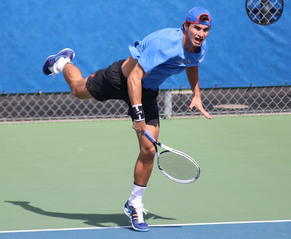 Captain Duarte Vale follows through a serve against Auburn on February 21. Vale and the Gators were named the No. 1 seed in the country ahead of Regionals.