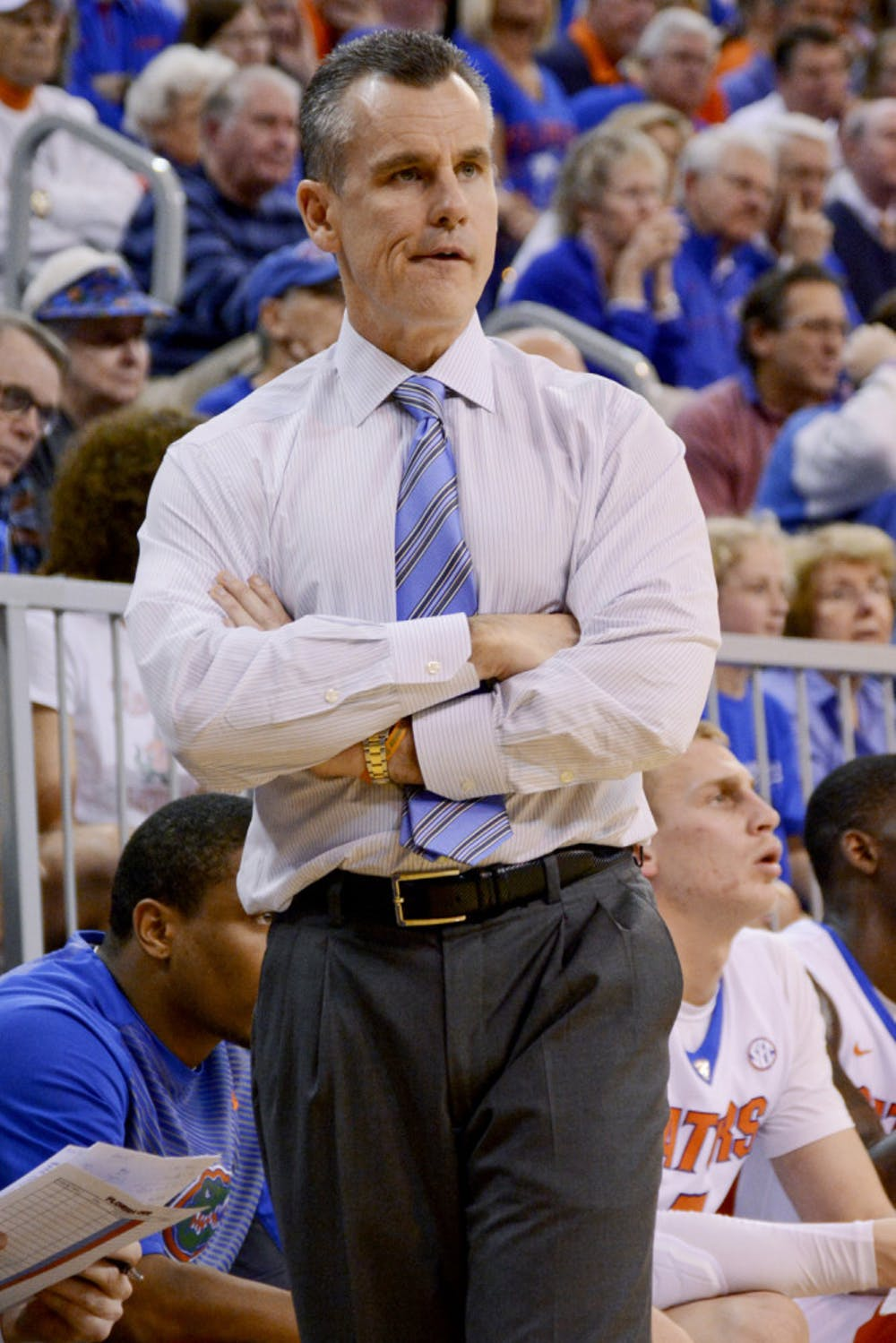 <p>Billy Donovan looks down the court during Florida's 57-56 win against Arkansas on Saturday in the O'Connell Center.</p>