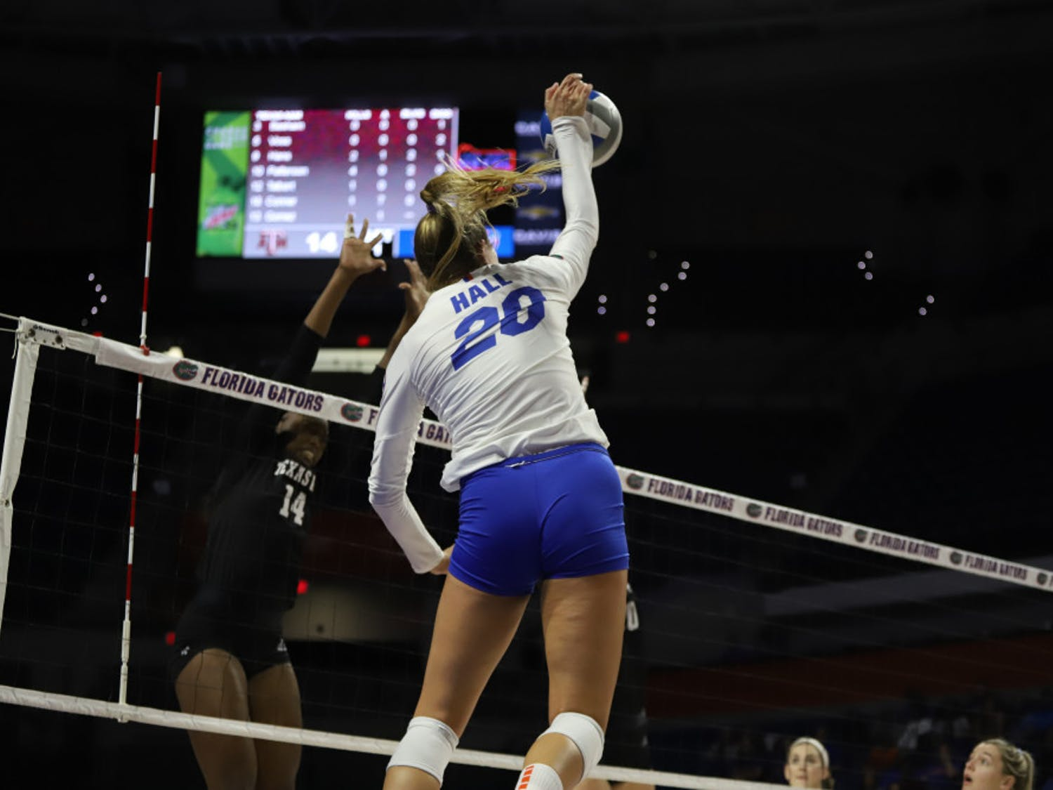 Outside hitters Thayer Hall (pictured) and T'ara Ceasar lead the Gatora in kills with 51 and 43, respectively.