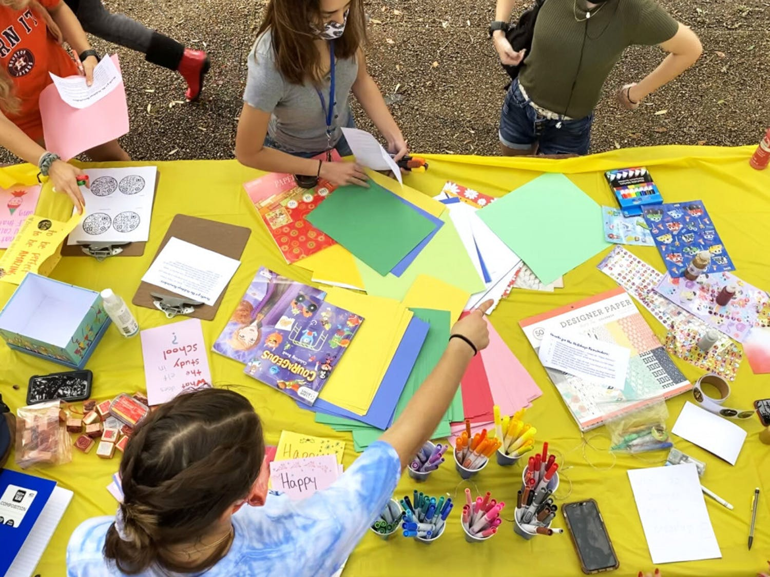 People create cards during the Hearts for the Holiday's event, held at Turlington Plaza and hall on Tuesday, Nov. 10, 2020. The event was hosted by Friends for Life of America.