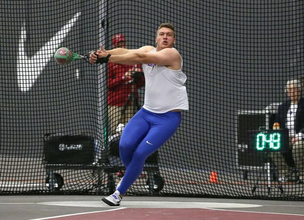"""<p>Redshirt senior thrower AJ McFarland set a personal indoor record for this second time this season at the Virginia Tech Elite Invitational. McFarland's&nbsp;<span id=""""docs-internal-guid-ea123fa6-7fff-3abe-0a30-8d43698ba834""""><span>22.58-meter throw was also his sixth time breaking the school record.</span></span></p>"""