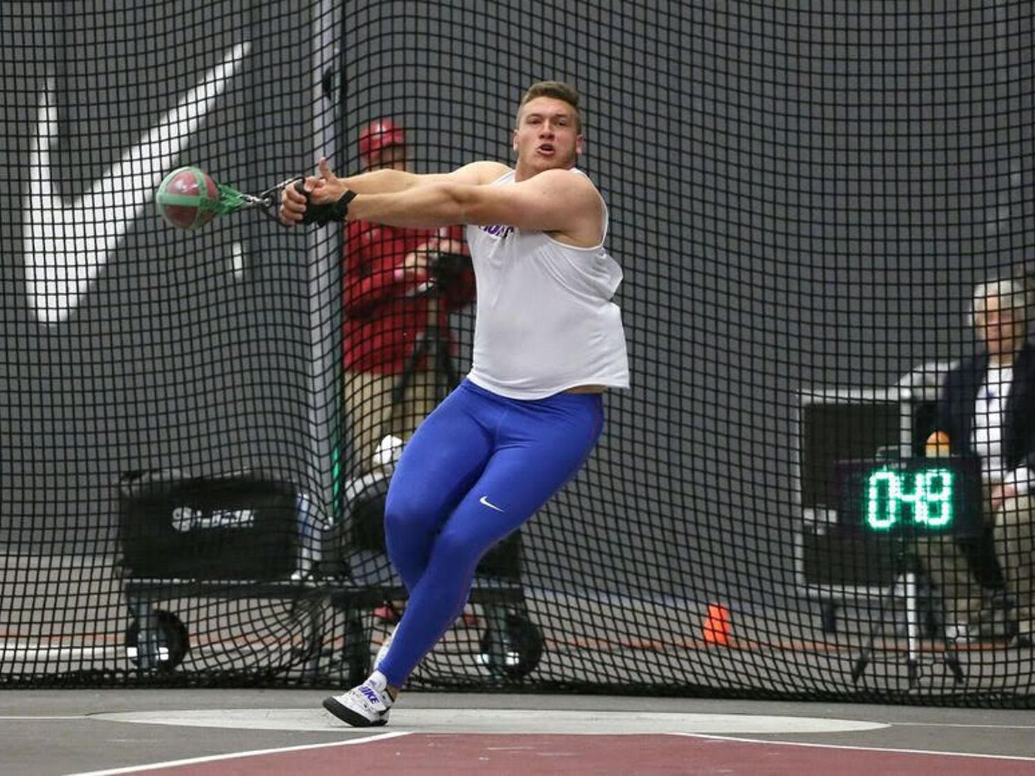 Redshirt senior thrower AJ McFarland set a personal indoor record for this second time this season at the Virginia Tech Elite Invitational. McFarland's22.58-meter throw was also his sixth time breaking the school record.