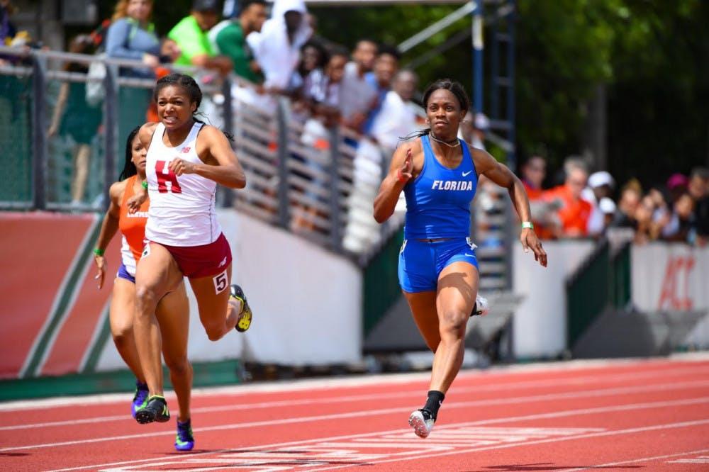 <p>UF sprinter Shayla Sanders runs the 100 meters at the Hurricane Collegiate Invitational on Saturday, March 25.</p>
