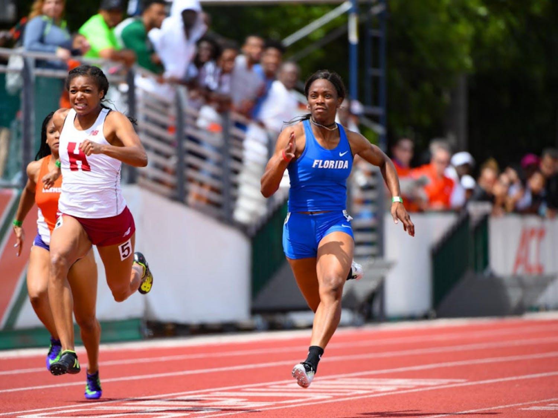 UF sprinter Shayla Sanders runs the 100 meters at the Hurricane Collegiate Invitational on Saturday, March 25.