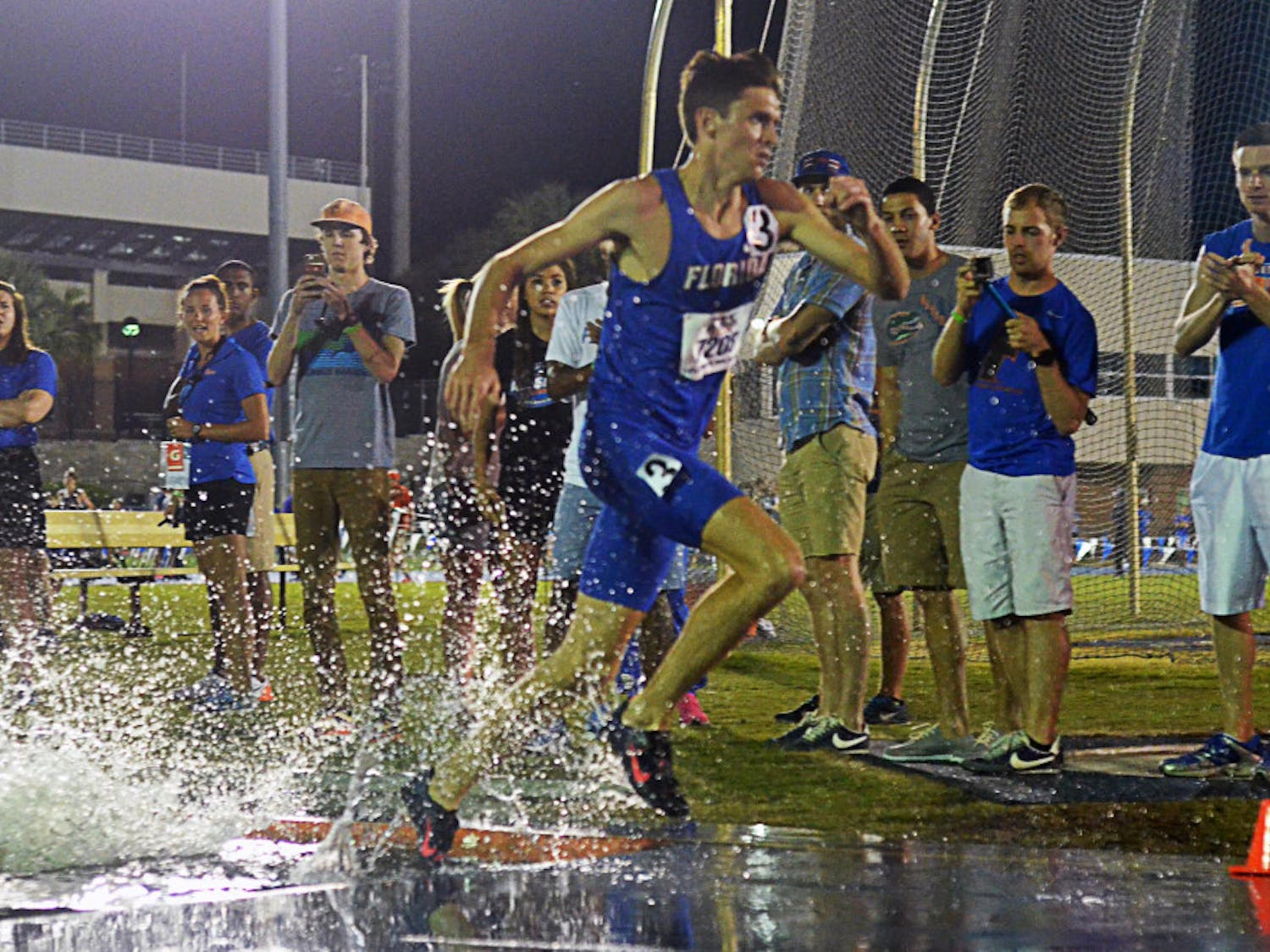 Mark Parrish races in the 3,000 meter steeplechase during the 2015 Florida Relays on April 3 at the Percy Beard Track.