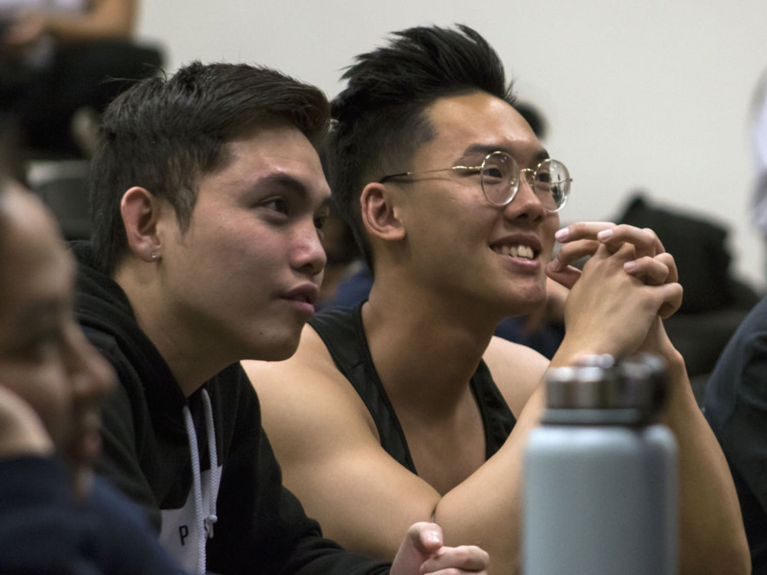 Tuan Nguyen, a 21-year-old biology junior, and Daniel Nguyen, a 22-year-old economics junior, attend a meeting in Little Hall Wednesday evening for the UF Vietnamese Students Organization. Both students said they joined the club their freshman year to form a better connection with their culture and meet new people.